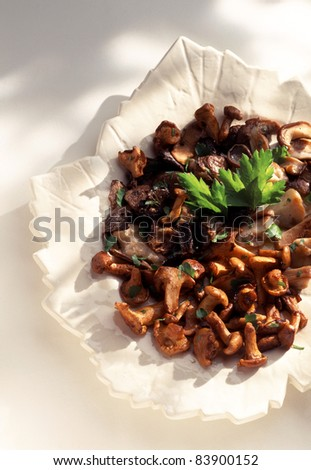 Pan-fried chanterelles and ceps