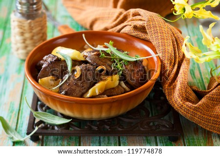 Pan-Fried Chicken Livers With Apple, Onion and Sage