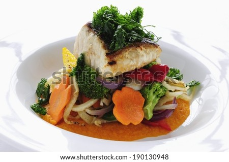 pan fried sea bass with oriental vegetables