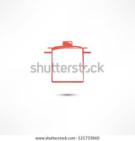 Pan Of Food Icon - stock photo