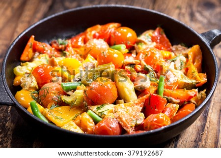 pan of roasted vegetables on wooden table