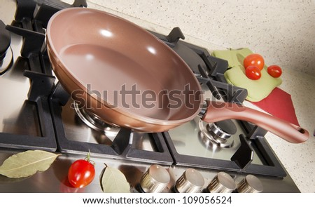 pan on the stove - stock photo