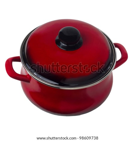 pan red pot kitchen isolated on white background (clipping path) - stock photo