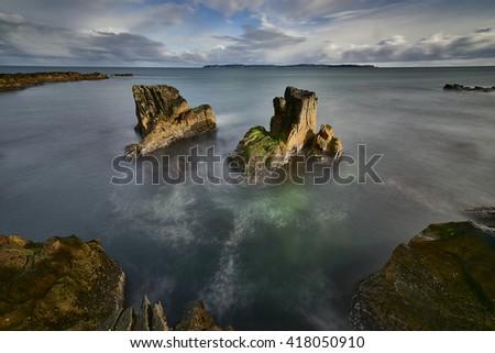Pan's Rock, Ballycastle, Antrim Coast landscape in North Ireland - stock photo