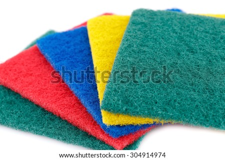 Pan scourers isolated on white background. - stock photo