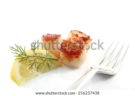 Pan seared scallops with lemon and dill isolated over a white background. - stock photo