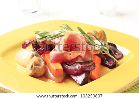 Pan seared vegetables and slices of ham