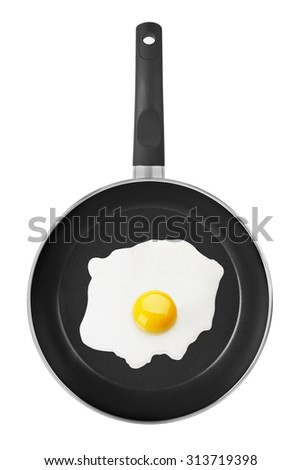Pan with Fried Egg, isolated on white background - stock photo