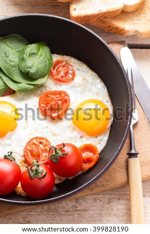 Pan with fried eggs
