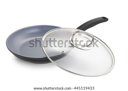 pan with glass lid, ceramic non-stick cookware. Isolated on white