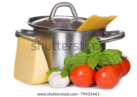 pan with spaghetti and fresh vegetables with cheese on white background