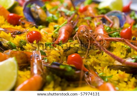 Pan with spanish sea food, Paella . - stock photo