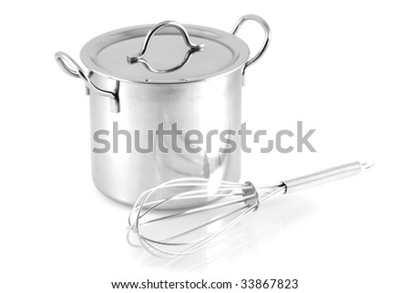 Pan with whisk, isolated on a white background. - stock photo
