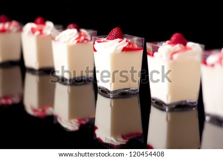 panacotta, italian dessert made with cream, unfocused at the ends, isolated on black