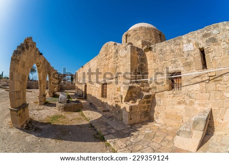 Panagia Katholiki Church. Kouklia village, Paphos District. Cyprus - stock photo