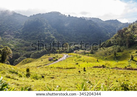 Panama Boquete Landscape, on the Quetzal Trail - stock photo