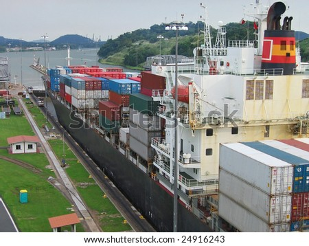 panama canal - stock photo