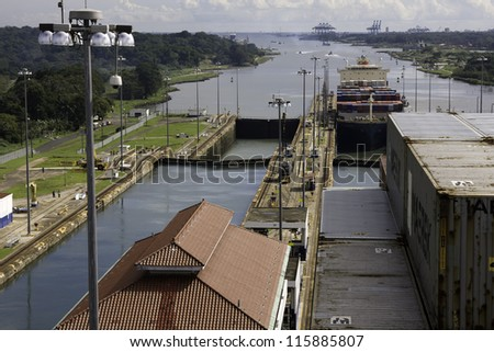 Panama Canal. Inside the lock.