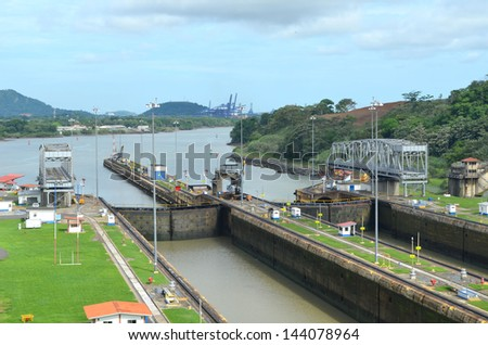Panama canal locks - stock photo
