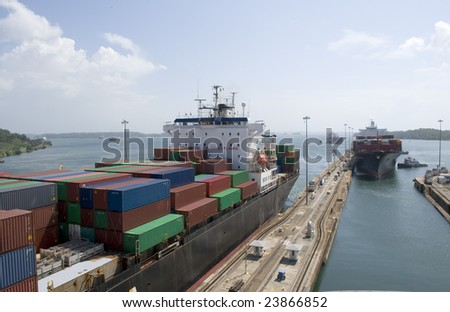 Panama Canal passage through Gatun Locks - stock photo