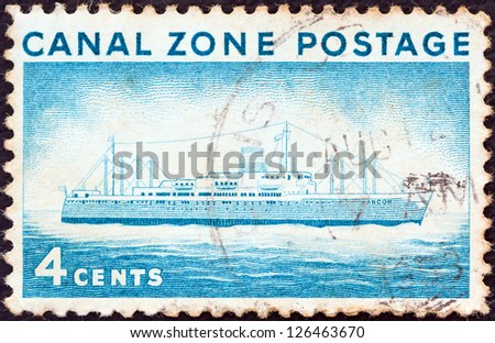 PANAMA CANAL ZONE- CIRCA 1960: A stamp printed in Panama Canal Zone shows Ancon II (liner), circa 1960.