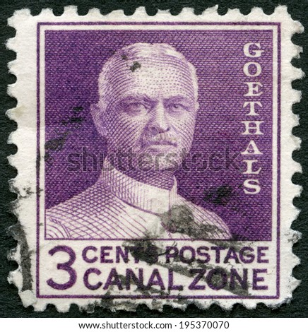 PANAMA CANAL ZONE - CIRCA 1934: A stamp printed in Panama Canal Zone shows George Washington Goethals (1858-1928), dedicated to 20th anniversary of the Panama Canal opening, circa 1934