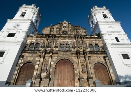 Panama Cathedral, Sal Felipe Old Quarter, UNESCO World Heritage Site, Panama City, Panama, Central America - stock photo
