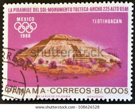 PANAMA - CIRCA 1967: A stamp printed in Panama shows pyramid of the Sun, Teotihuacan, Mexico, circa 1967 - stock photo