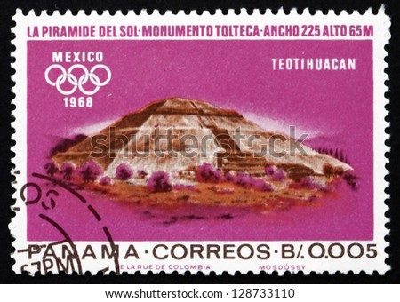 PANAMA - CIRCA 1967: a stamp printed in the Panama shows Indian Ruins at Teotihuacan, Toltec Culture, 1968 Summer Olympics, Mexico City, circa 1967 - stock photo