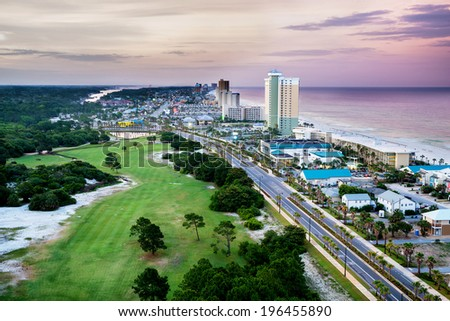 Panama City Beach, Florida, view of Front Beach Road at sunrise - stock photo