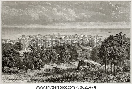 Panama city old view. Created by De Bar, published on Magasin Pittoresque, Paris, 1882 - stock photo