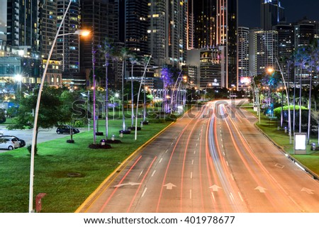Panama City, Panama - August 29, 2015: Panama city skyline is seen at night on August 29, 2015 in Panama, Central America