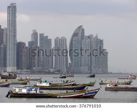 PANAMA CITY/PANAMA - 19 FEBRUARY 2012: An unique view of the Panama skyline and, in front, boats in the Pacific Ocean