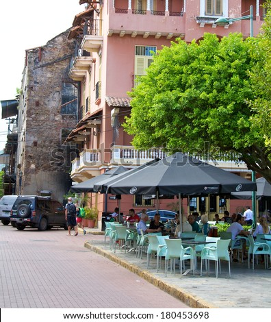 PANAMA CITY, PANAMA - JANUARY 18, 2014: An outdoor cafe in Casco Viejo, the historic district of Panama City Panama. Completed and settled in 1673. It was designated a World Heritage Site in 1997. - stock photo