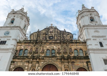 Panama City, Panama - January 2, 2014: Metropolitan Cathedral by day, located on Plaza de la Independencia in the historical area of Panama City, Casco Viejo. - stock photo