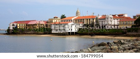 PANAMA CITY, PANAMA - JANUARY 18, 2014: Old buildings of Casco Viejo, the historic district of Panama City Panama. Completed and settled in 1673. It was designated a World Heritage Site in 1997. - stock photo