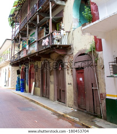 PANAMA CITY, PANAMA - JANUARY 18, 2014: The narrow streets of Casco Viejo, the historic district of Panama City Panama. Completed and settled in 1673. It was designated a World Heritage Site in 1997. - stock photo