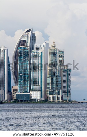 Panama City, Panama- June 08: Cityscape from across the bay in Panama. June 08 2016, Panama City, Panama.