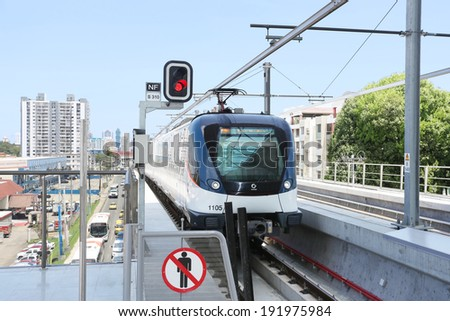 PANAMA CITY, PANAMA - MAY 10: Panama Metro a metropolitan transport system that was inaugurated on Apr 5, 2014. Consists of one 8.5 mile line serving 12 stations in Panama City, Panama on May 10, 2014 - stock photo