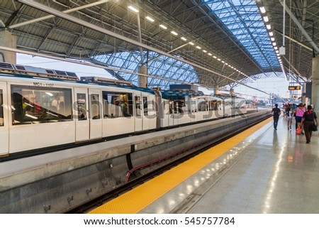 PANAMA CITY, PANAMA - MAY 29, 2016: View of a station of Panama Metro.