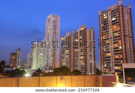 Panama City skyline in the sunset - stock photo