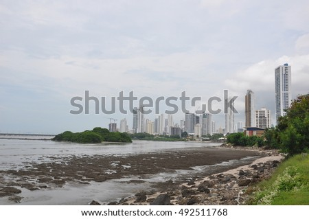 Panama City viewed from the old original city that is now in ruins, Panama, Central America