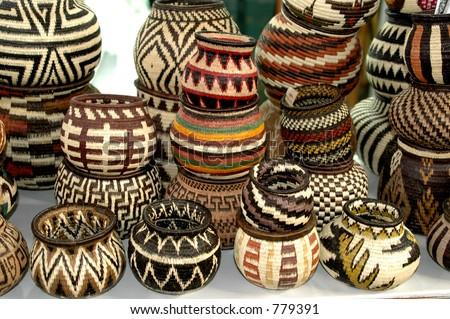 panama embera indian woven baskets 824 - stock photo