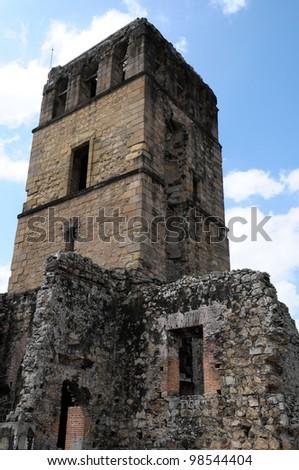 Panama La Vieja, old Spanish city UNESCO heritage ruins. - stock photo