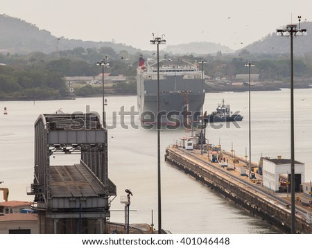 PANAMA - MARCH 21: The Panama Canal, which connects the Atlantic Ocean to the Pacific Ocean, is a key conduit for international maritime trade in Panama, March 21, 2016 in Panama