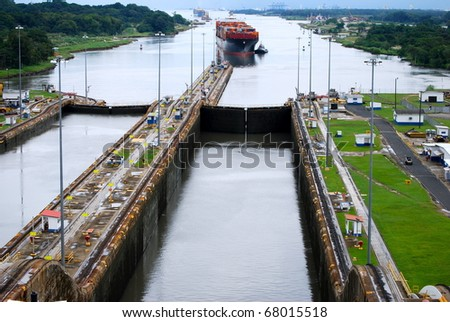 PANAMA - OCTOBER 6. Contracts have been awarded to build six new locks on the Panama Canal. Construction work is proceeding apace. October 6, 2010, Panama