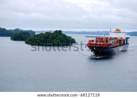 PANAMA - OCTOBER 6. In July 2009 the Panama Canal Authority awarded contracts to a consortium of companies to build 6 new locks by 2015. Ships in the Gatun Lake between locks. October 6 2010, Panama - stock photo