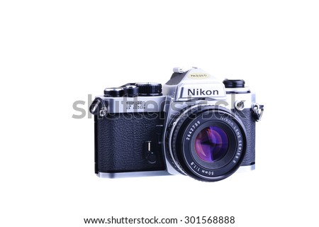 PANAMA, PANAMA - JULY 30, 2015: The Nikon FE2 is a semi-professional level, interchangeable lens, 35 mm film slr  camera. It was manufactured by Nippon Kogaku K. K.  in Japan from 1983 to 1987