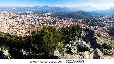 Panaroma of Jaen from castle in sunny day. Andalusia,  Spain