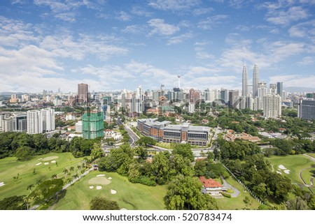 Panaromic View of Kuala Lumpur Cityscape the Federal Capitol and most populous city in Malaysia